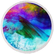 Round Beach Towel featuring the painting Green Wave - Vibrant Artwork by Lilia D