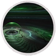 Round Beach Towel featuring the digital art Greenland Outpost by GJ Blackman
