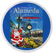 Alameda Christmas Greeting Round Beach Towel by Linda Weinstock