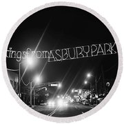 Greetings From Asbury Park New Jersey Black And White Round Beach Towel
