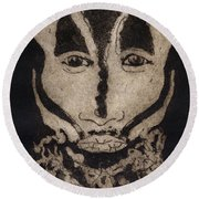 Greetings From New Guinea - Mask - Tribesmen - Tribesman - Tribal - Jefe - Chef De Tribu Round Beach Towel