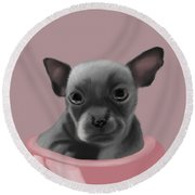 Grey Chihuahua In The Pink Round Beach Towel