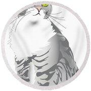 Grey Tiger Cat Round Beach Towel