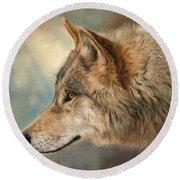 Grey Wolf 3 Round Beach Towel