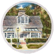 Round Beach Towel featuring the painting Greystone Inn II by Kip DeVore