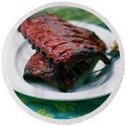 Grilled Ribs On A White Plate Round Beach Towel
