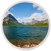 Grinnell Point From Swiftcurrent Lake Round Beach Towel