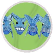 Grinning Fish Round Beach Towel