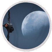 Round Beach Towel featuring the photograph Gripen Moon by Paul Job