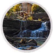Grist Mill In Babcock State Park West Virginia Round Beach Towel