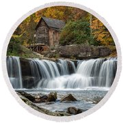 Grist Mill With Vibrant Fall Colors Round Beach Towel