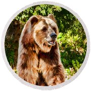 Grizzly Bear - Painterly Round Beach Towel