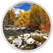 Round Beach Towel featuring the photograph Grizzly Creek Canyon by Jeremy Rhoades