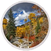 Grizzly Creek Cottonwoods Round Beach Towel