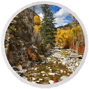 Round Beach Towel featuring the photograph Grizzly Creek Cottonwoods Vertical by Jeremy Rhoades