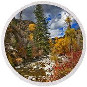 Round Beach Towel featuring the photograph Grizzly Creek Vertical by Jeremy Rhoades