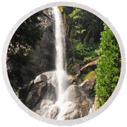 Round Beach Towel featuring the photograph Grizzly Falls by Mary Carol Story