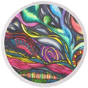Groovy Series Titled Thoughts Round Beach Towel by Chrisann Ellis