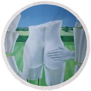 Groping Statues Acrylic On Canvas Round Beach Towel