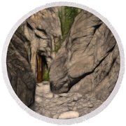 Grotto Canyon Fractal Round Beach Towel