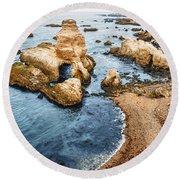 Grotto Rock - Montana De Oro State Park Round Beach Towel