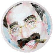 Groucho Marx Watercolor Portrait.2 Round Beach Towel