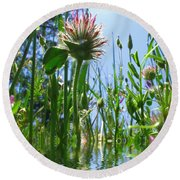 Ground Level Flora Round Beach Towel