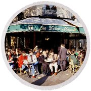Group Of People At A Sidewalk Cafe, Les Round Beach Towel