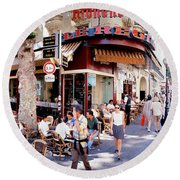 Group Of People At A Sidewalk Cafe Round Beach Towel