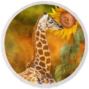 Round Beach Towel featuring the mixed media Growing Tall - Giraffe by Carol Cavalaris
