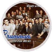 Grumman Iron Works Shop Workers Round Beach Towel