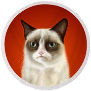 Grumpy Cat Round Beach Towel by Olga Shvartsur