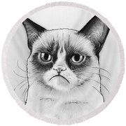 Grumpy Cat Portrait Round Beach Towel by Olga Shvartsur