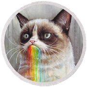 Grumpy Cat Tastes The Rainbow Round Beach Towel by Olga Shvartsur