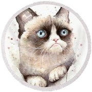 Grumpy Cat Watercolor Round Beach Towel