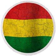 Grunge Bolivia Flag Round Beach Towel