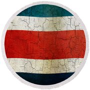 Grunge Costa Rica Flag Round Beach Towel