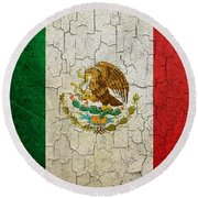 Grunge Mexico Flag Round Beach Towel