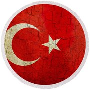 Grunge Turkey Flag Round Beach Towel