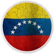 Grunge Venezuela Flag Round Beach Towel