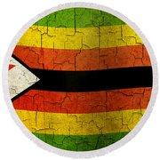 Grunge Zimbabwe Flag Round Beach Towel