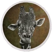 Grungy Giraffe 5654 Brown Round Beach Towel