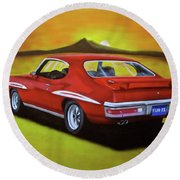 Round Beach Towel featuring the painting Gto 1971 by Thomas J Herring