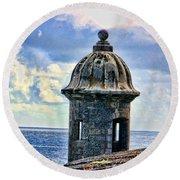 Guard Tower At El Morro Round Beach Towel by Daniel Sheldon