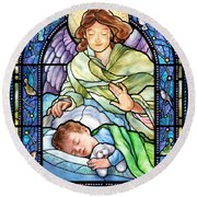 Guardian Angel With Sleeping Boy Round Beach Towel