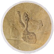 Guardian In The Stone Round Beach Towel