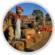 Round Beach Towel featuring the photograph Guarding The Pumpkin Patch by Michael Gordon