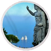 Round Beach Towel featuring the photograph Guarding The Water by Mike Ste Marie