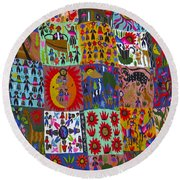 Guatemala Folk Art Quilt Round Beach Towel