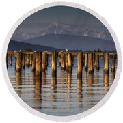 Guemes Channel Trail View Round Beach Towel